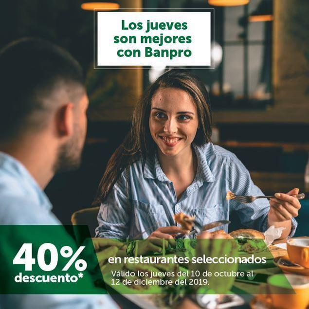 40% de descuento en restaurantes seleccionados