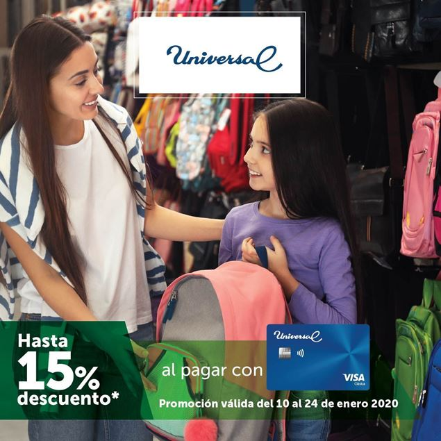 Foto de Hasta -15% al pagar con tu tarjeta Universal Banpro en tienda Universal