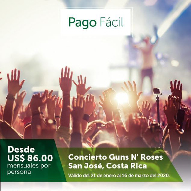 Foto de Viaja al concierto de Guns N' Roses en Costa Rica y págalo a 9 meses con Pago Fácil
