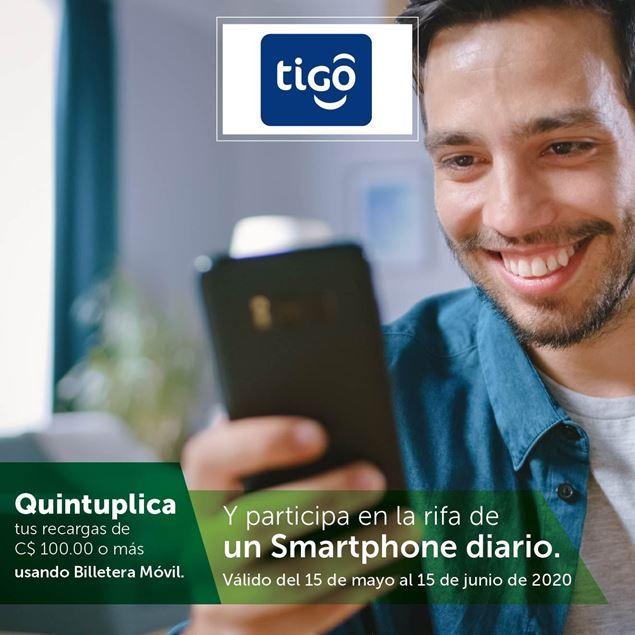 Foto de Quintuplica tus recargas TIGO de C$ 100.00 a más en Billetera Móvil y participa en la rifa de 30 smartphones