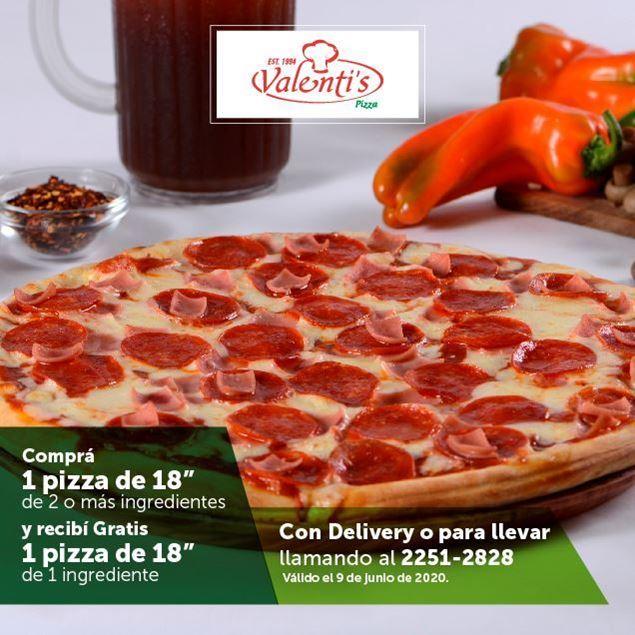 """Foto de 2x1 en pizzas de 18"""" vía Delivery o para llevar en VALENTI´S PIZZA"""