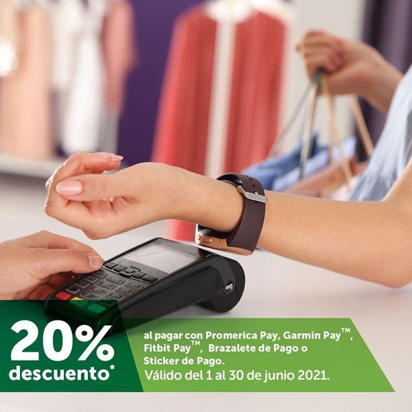 Foto de 20% de descuento al pagar con Promerica Pay, Garmin Pay, Fitbit Pay, Brazaletes y Sticker de pago.
