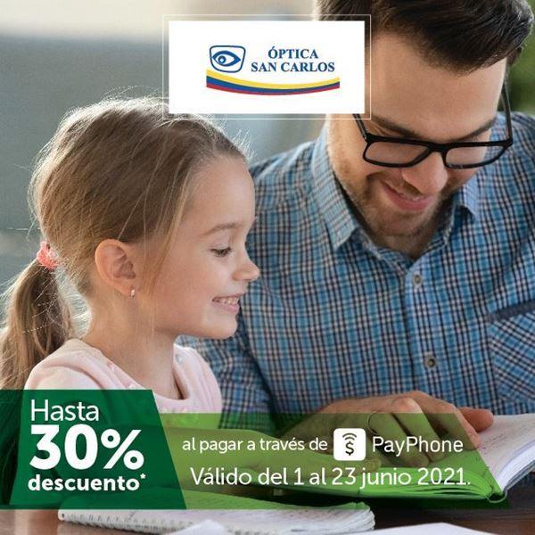 Foto de Hasta 30% de descuento al pagar con PayPhone en Óptica San Carlos